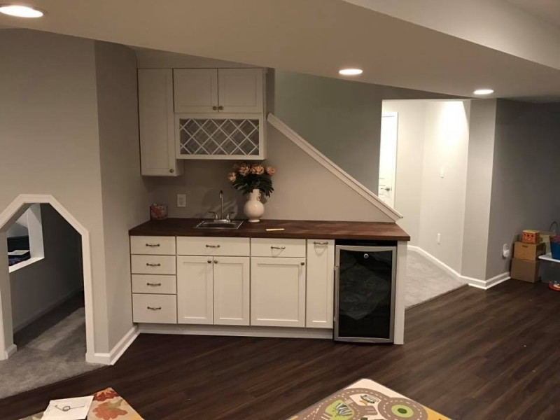 Chester county basements basement kitchens and wet bars for House plans with inlaw suite in basement